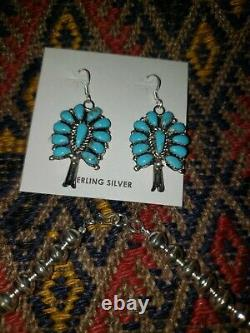 Sterling Silver Turquoise Squash Blossom Necklace and Earrings Set Signed AW