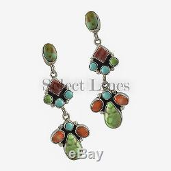 Sterling Silver Turquoise and Spiny Oyster Earrings Navajo Artist Eleanor Largo