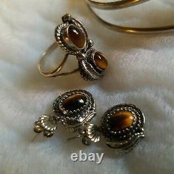 Sterling Silver Vtg Ear Ring Bracelet Necklace Lot No Scrap Native Cat Tiger Eye