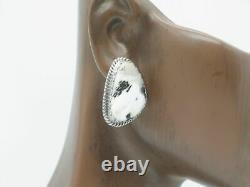 Sterling Silver White Buffalo Post Earrings Handmade by Navajo Elouise Kee
