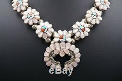Sterling Silver Zuni Inlay Sunface MOP Squash Blossom Necklace & Earrings NS1590