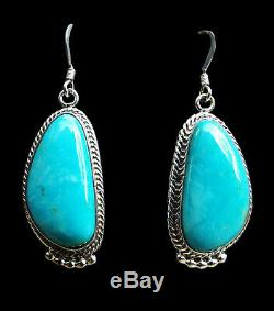 Sterling Turquoise Dangle Earrings Navajo Handmade