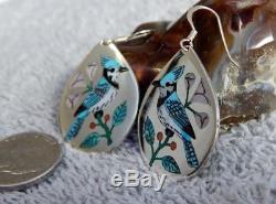 Sterling Turquoise Shell Inlay Bird Earrings Zuni Rudy & Nancy Laconsello