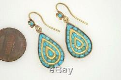 Striking Antique Indian Silver Gilt Gold & Turquoise Drop Earrings