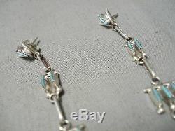 Striking Vintage Zuni Native American Turquoise Sterling Silver Earrings