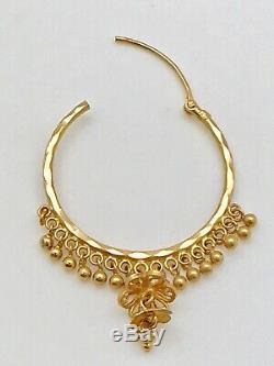 Stunning 22K Gold Indian Beaded Large Hoop Earrings 11.5 grams 2 long