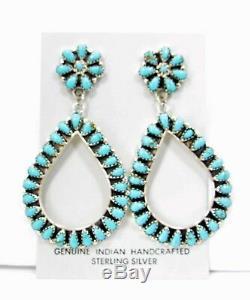 Stunning Native American Navajo Cluster Earrings Turquoise Teardrop Post