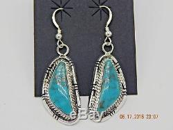 Stunning Navajo Handmade Kingman Turquoise Earrings Set in Sterling Silver