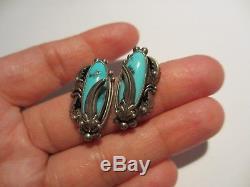 Stunning Vintage Navajo Sterling&turquoise Nakai Earrings-beautiful Stones! Nr
