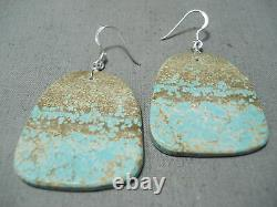 Superb Santo Domingo Native American Royston Turquoise Sterling Silver Earrings