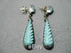 Superb Vintage Zuni Blue Gem Turquoise Sterling Silver Earrings Old