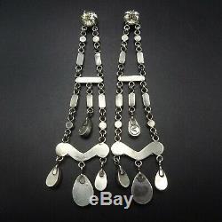 Superlative 4.25 Long NAVAJO Sterling Silver CORAL Dangle Chandelier EARRINGS