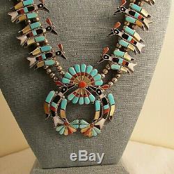Sw Peyote Waterbird Squash Blossom Necklace & Earrings Laiwakete