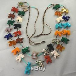 THE BEST! Vtg ZUNI Sterling Silver Carved Gemstone Bear Fetish Necklace Earrings