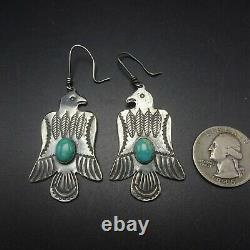 THUNDERBIRDS Vintage NAVAJO Hand-Stamped Sterling Silver TURQUOISE EARRINGS