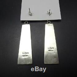 Tahe NAVAJO 3 Long Modern Monolith Sculptured Sterling Silver EARRINGS Pierced