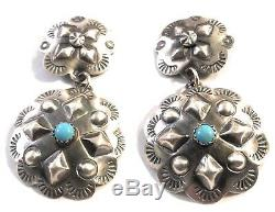 Tim Yazzie Sterling Silver & Turquoise Navajo Dangle Earrings Signed