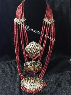 Traditional hyderabadi Nazam Style indian/pakistani 7 Lara bridal jewellery set