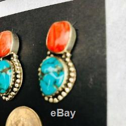 Turquoise And Spiny Oyster Sterling Earrings Handmade