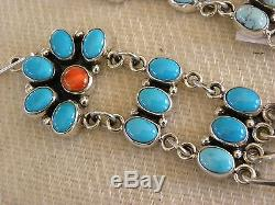 Turquoise Cluster Chandelier Earrings By Nakai 3 Long Signed