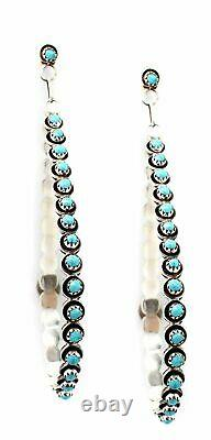 Turquoise Drop Hoops Large