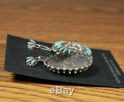 Turquoise Earrings Needlepoint Post Dangle large Zuni Made Philander Gia