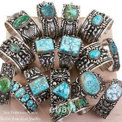 Turquoise Earrings Sterling Silver Dangles Chandelier Native American Natural
