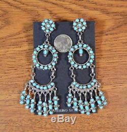 Turquoise Petit Point Chandelier Earrings 3-3/4 Zuni artist Phyllis Laate