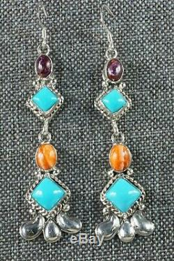 Turquoise & Spiny Oyster Sterling Silver Earrings Native American Navajo