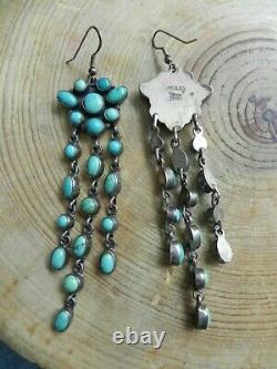 Turquoise & Sterling Silver Chandelier style Dangle Earrings Emma Lincoln Navajo