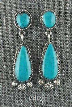 Turquoise & Sterling Silver Earrings Sarah Yazzie Navajo