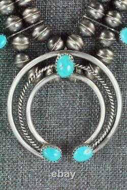 Turquoise & Sterling Silver Squash Blossom and Earrings Leon Kirlie