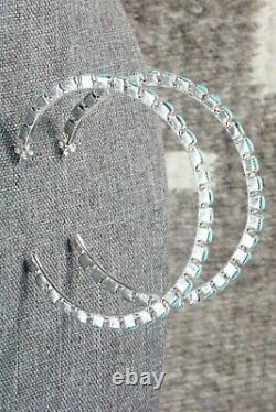 Turquoise and Sterling Silver Hoop Earrings Alvin & Aurelia Hughte