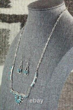 Turquoise and Sterling Silver Necklace and Earrings Set Veronica Yawakia