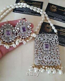 UK SELLER Bollywood Indian Kundan long Mala Necklace Earrings Set