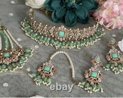 Uk Seller Indian Kundan Choker Set In Mint Green Earrings Tika Jhumar