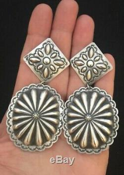 VERY LARGE Navajo Sterling Silver Concho Earrings Harris Joe