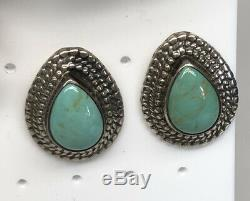 VINTAGE LOT OF 10 Pair Navajo Turquoise STERLING Post EARRINGS 78g