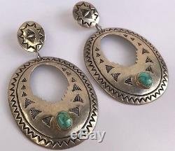 VTG HUGE NAVAJO Repousse Sterling Silver Bisbee TURQUOISE Dangle Concho EARRINGS
