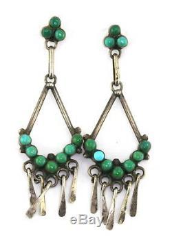 VTG Old Pawn Zuni Silver Turquoise Petit Point Dangle Fringe Pierced Earrings