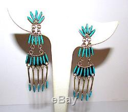 VTG ZUNI Sterling Silver Sleeping Beauty Turquoise Needlepoint Dangle Earrings