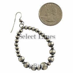 Vangie Touchine Sterling Silver Navajo Pearl Hoop Dangle Earrings