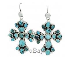 Vernon, Clarissa Hale, Earring Pierced, Kingman Turquoise, Cross, Navajo, 2.25