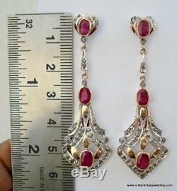 Victorian diamond ruby 14k gold silver earrings Indian