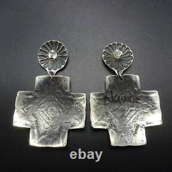 Vincent Platero NAVAJO Hand-Stamped Sterling Silver SANTA FE CROSS EARRINGS