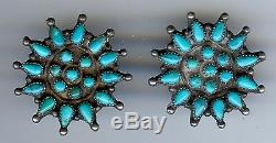 Vintage 1940's Zuni Indian Silver Turquoise Clip Earrings