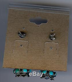 Vintage Bernard Bowekaty Zuni Indian Silver Turquoise Pierced Dangle Earrings