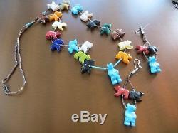 Vintage Carved Multi-Stones Fetish Bear /Heishi beads Necklace 29 /earrings 4