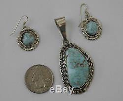 Vintage Dry Creek Turquoise Pendant & Earrings Native American Jewelry Signed NE