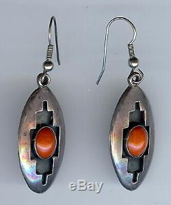 Vintage Hopi Indian Sterling Coral Cabochons Shadow Box Pierced Dangle Earrings